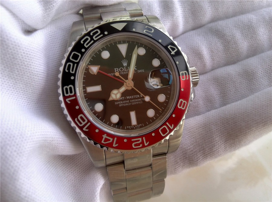 Rolex GMT II 50th Anniversary Ceramic Automatic Watch-Black Dial Black/Red Bezel-Stainless Steel Oyster Bracelet