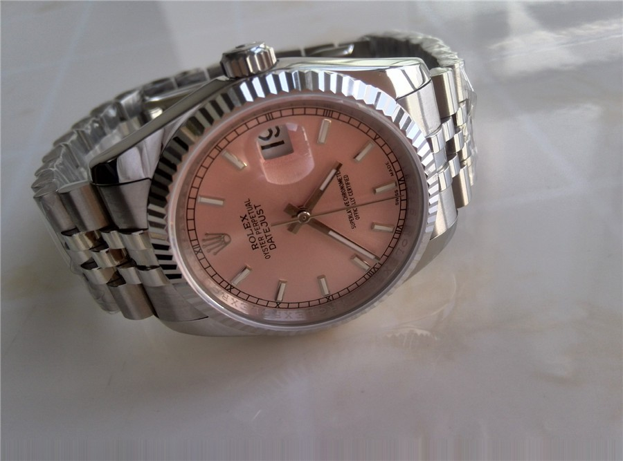 Rolex Datejust Swiss 3135 Automatic Watch Pink Dial