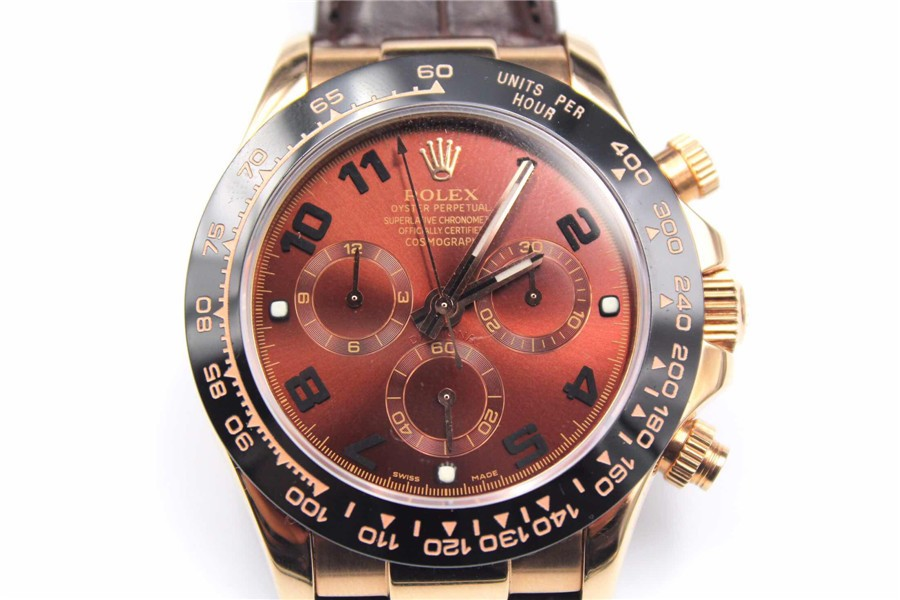 Rolex Daytona Swiss Automatic Watch-Brick Red Dial-Brown Leather Bracelet