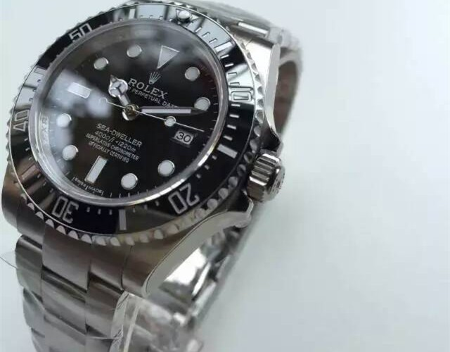 Rolex Sea Dweller Ultimate 1:1 Mirror Automatic Watch-Black Dial White Dot Markers-Stainless Steel Oyster Bracelet