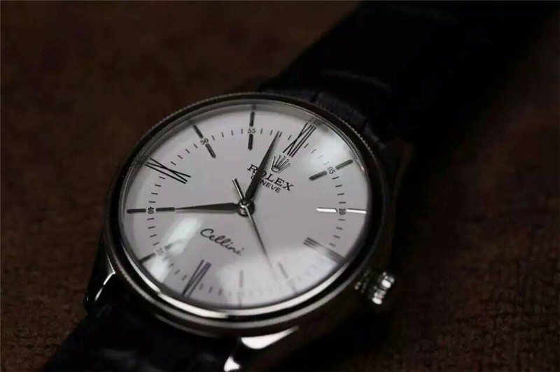 Rolex Cellini Time 50509 Swiss Automatic Watch-White Dial 18K White gold Pointer Hour markers -Black leather strap