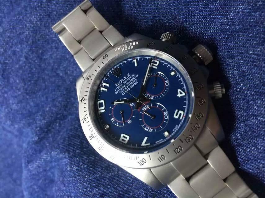 Rolex Daytona Swiss Chronograph-Blue Dial Numeral Markers-Titanium Steel Case