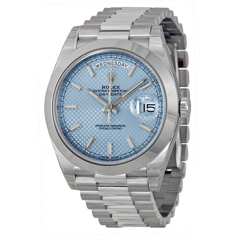 Rolex Day-Date Swiss Automatic Watch Stainless Steel Ice Blue Checkered Dial