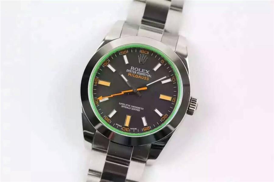Rolex Milgauss Swiss ETA3131 Automatic Watch Black Dial