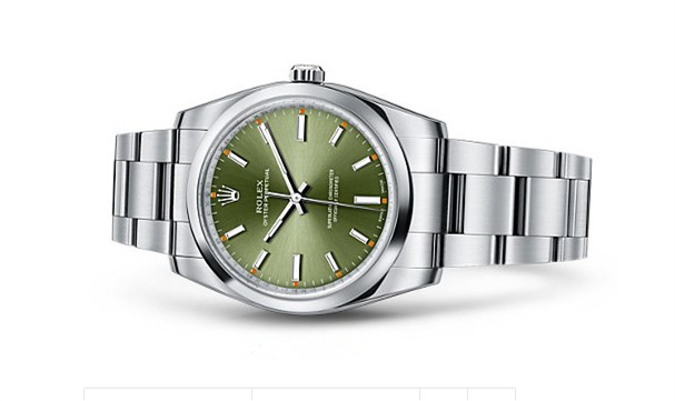Rolex Oyster Perpetual Time Swiss Automatic Watch 34mm Army Green Dial