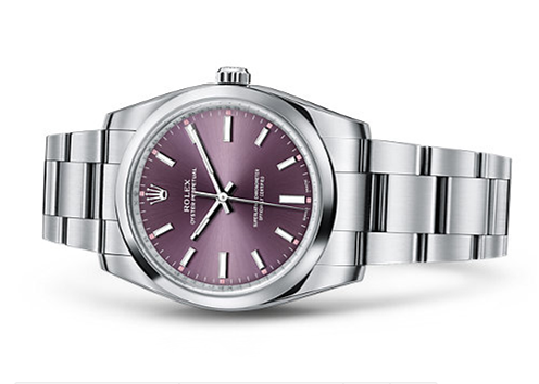 Rolex Oyster Perpetual Time Swiss Automatic Watch 34mm Purple Dial