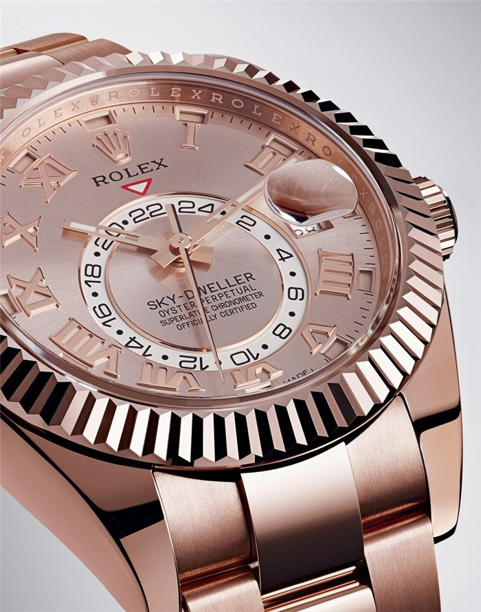Rolex Sky-Dweller Automatic Watch 18K Everose Gold Silver Gray Dial