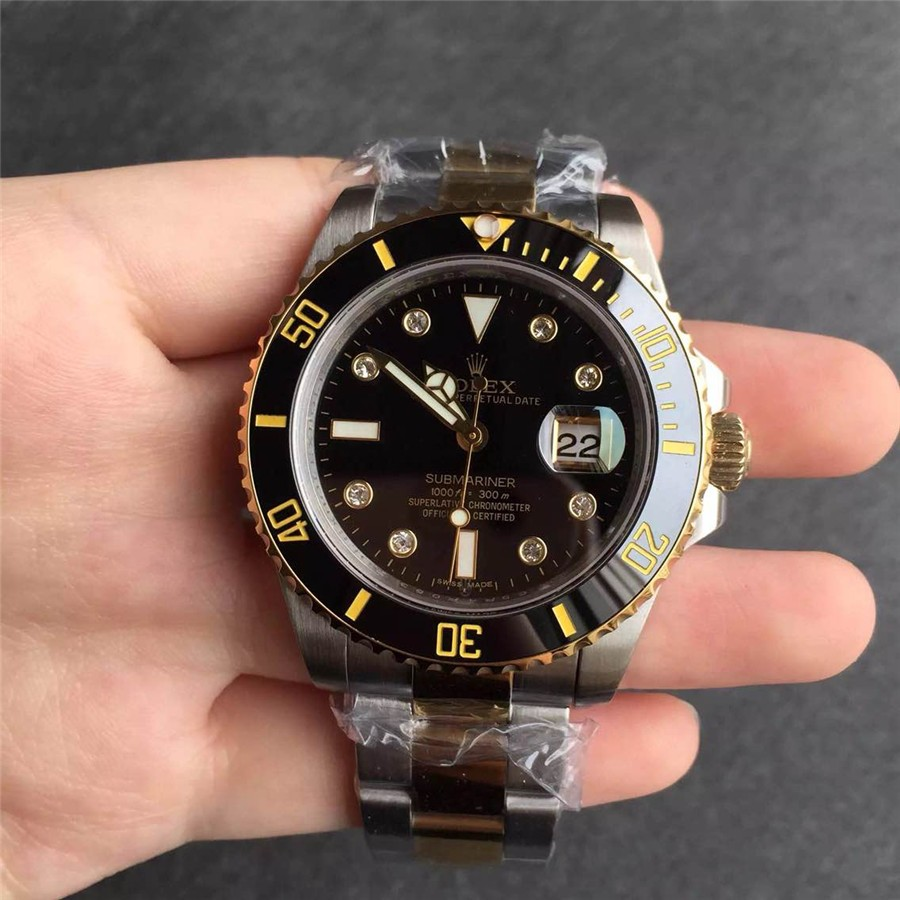 Rolex Submariner Black Dial Diamonds Hour Markers Swiss Automatic Watch