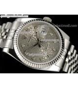 Rolex Datejust 36mm Swiss Automatic Watch-Grey Jubilee Dial ndex Hour markers-Stainless Steel Jubilee Bracelet
