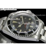 Rolex Sea Dweller Vintage 1665 Double RED Automatic Watch-Black Dial Dot Markers-Stainless Steel Oyster Bracelet