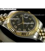 Rolex Datejust II 41mm Two Tone Fluted Bezel18k Gold-Black Dial Lumed Numeral Markers-Stainless Steel Jubilee Bracelet