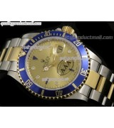 Rolex Submariner Automatic Swiss Watch 18k Gold-Gold Dial-Stainless Steel New Style Brushed Oyster Bracelet