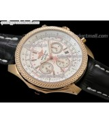 Breitling Bentley 30S Chronograph 18K Rose Gold-White Dial White Subdials-Black Leather Bracelet