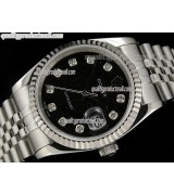 Rolex Datejust 36mm Swiss Automatic Watch-Black Jubilee Dial Diamond Hour Markers-Stainless Steel Jubilee Bracelet