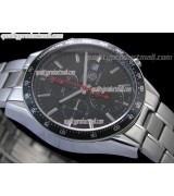 Tag Heuer Carrera Racing 41MM Automatic Chronograph-Black Dial, Black subdials-Stainless Steel Bracelet