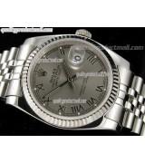 Rolex Datejust 36mm Swiss Automatic Watch-Grey Dial Roman Numerals-Stainless Steel Jubilee Bracelet