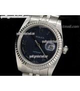 Rolex Datejust 36mm Swiss Automatic Watch-Blue Jubilee Dial Roman Numeral Hour Markers-Stainless Steel Jubilee Bracelet