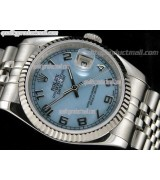 Rolex Datejust 36mm Swiss Automatic Watch-Blue MOP Dial Numeral Hour Markers-Stainless Steel Jubilee Bracelet