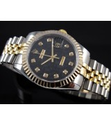 Rolex Oyster Perpetual E710 Automatic 18k Gold-Black Dial Diamond Markers-Stainless Steel Strap