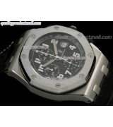 Audemars Piguet Royal Oak Black Edition Chronograph-Black Checkered Dial Numeral Hour Markers-Black Leather Strap