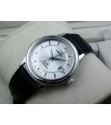 Omega De Ville Automatic-White Dial-Stick Markers-Black Genuine Leather Strap