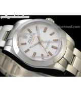 Rolex Milgauss Swiss ETA Automatic Watch-White Dial Index Hour Markers-Stainless Steel Bracelet Rolesor Oyster Bracelet