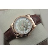 Rolex Datejust 36mm Swiss Automatic Watch Rose Gold-White&Silvery Dial Stick Markers-Brown Leather Bracelet