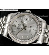 Rolex Datejust 36mm Swiss Automatic Watch-Silver Sunburst Dial Index Hour Markers-Stainless Steel Jubilee Bracelet