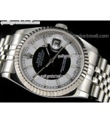 Rolex Datejust 36mm Swiss Automatic Watch-Black and White Bi Tone Dial Roman Numeral Hour Markers-Stainless Steel Jubilee Bracelet