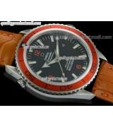 Omega Sea-Master Automatic Orange Ultimate-Black Dial Orange Bezel-Orange Leather Strap