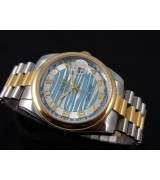 Rolex Oyster Perpetual E715 Automatic 18k Gold-White Blue Dial Number Markers-Stainless Steel Strap