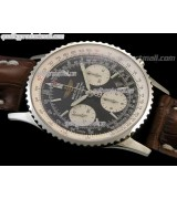Breitling Navitimer Chronometre-Black Dial Index Hour Markers-Brown Leather Strap