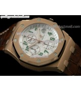 Audemars Piguet Royal Oak Pride of Mexico Limited Edition Chronograph 18K Rose Gold-White Checkered Dial-Brown Leather Strap