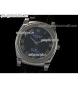 Rolex Cellini Swiss Quartz Watch-Blue Dial Roman Numeral Markers-Black Leather strap