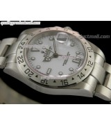 Rolex Explorer II 40MM Swiss GMT Hour Automatic Watch-White Dial White Dot markers-Stainless Steel Oyster Bracelet