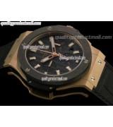 Hublot Big Bang Evolution Ultimate Chronograph 18k Rose Gold-Matt Black Dial Lumed Steel Markers-Black Leather Strap
