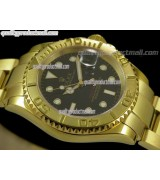 Rolex Yachtmaster II Gold Swiss ETA-Black Dial White Dot Markers-Gold Plated Stainless Steel Oyster Strap