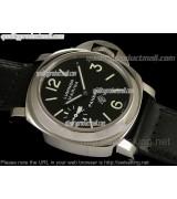 Panerai Luminor Marina PAM005 Swiss Quartz  Watch-Black Dial Numeral/Index Hour Markers-Black Leather Strap