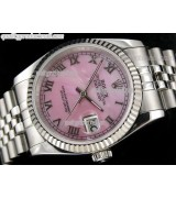 Rolex Datejust 36mm Swiss Automatic Watch-MOP Pink Dial Roman Numeral Hour Markers-Stainless Steel Jubilee Bracelet