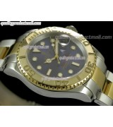Rolex Yachtmaster II Bi Tone Swiss ETA-Blue Dial White Dot Markers-Gold Plated Stainless Steel Oyster Strap