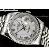 Rolex Datejust 36mm Swiss Automatic Watch-White MOP Dial Roman Numeral Hours-Stainless Steel Jubilee Bracelet