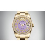 Rolex Day-Date 118348 Swiss Automatic Watch Baby Purple Dial 36MM