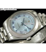 Rolex DayDate II 41mm Swiss Automatic Watch-White Dial Blue Roman Numeral Markers-Stainless Steel Presidential Bracelet