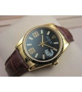 Rolex Datejust 36mm Swiss Automatic Watch 18K Gold-Black Dial Diamond Stick Markers-Brown Leather Bracelet