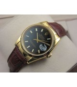 Rolex Datejust 36mm Swiss Automatic Watch 18K Gold-Black Dial Stick Markers-Brown Leather Bracelet