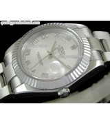 Rolex Datejust II 41mm Swiss Automatic Watch-White Dial Roman Numeral Hour Markers-Stainless Steel Oyster Bracelet