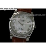 Rolex Cellini Swiss Quartz Watch-MOP White Dial Roman Numeral Hour Markers-Brown Leather strap