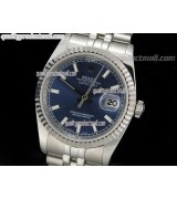 Rolex Datejust 36mm Swiss Automatic Watch-Blue Textured Dial Index Hour markers-Stainless Steel Jubilee Bracelet