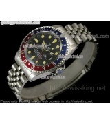 Rolex GMT II Ceramic Automatic Watch-Black Dial Blue/Red Bezel-Stainless Steel Jubilee Bracelet