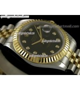 Rolex Datejust II 41mm Two Tone Fluted Bezel 18k Gold-Black Dial Diamond Markers-Stainless Steel Jubilee Bracelet